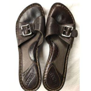 Born Brown Leather Slide Sandal Buckle Heel Sz 9